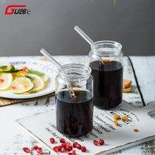 Скандинавские прозрачные кофейные кружки Коктейльные Стеклянные термостойкие соки Кола чайные чашки креативный подарок молоко с соломинкой