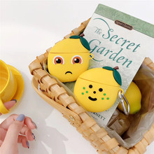 For AirPod 2 Case 3D Smile Lemon Cartoon Soft Silicone Wireless Earphone Cases Apple Airpods Cute Cover Funda