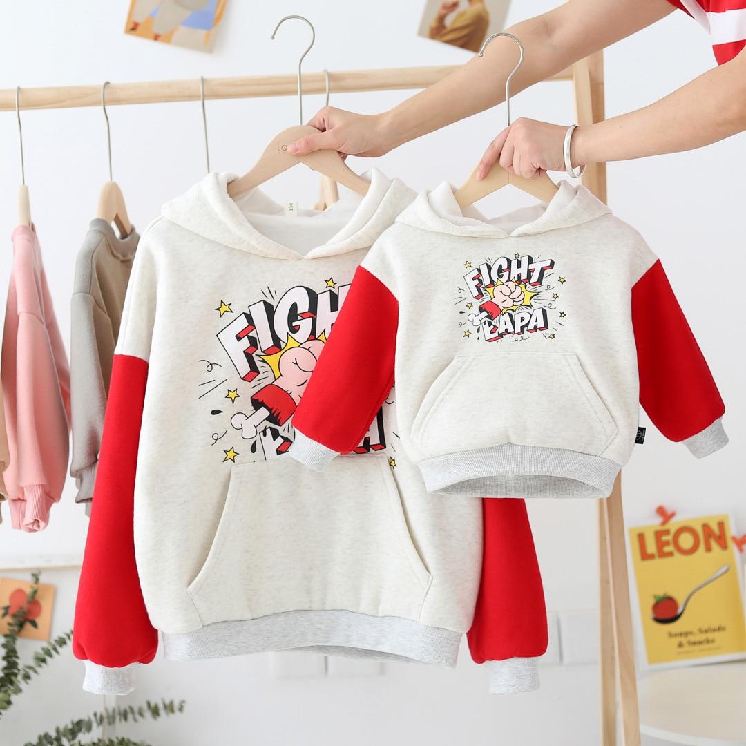 WLG/Семейные комплекты; плотные бархатные толстовки с героями мультфильмов для мамы и дочки; теплая одежда бежевого цвета в стиле пэчворк