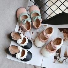 Обувь для девочек Детская весенняя обувь из искусственной кожи с бантом из мультфильма; повседневная обувь для малышей на плоской подошве 21-30 SMG072