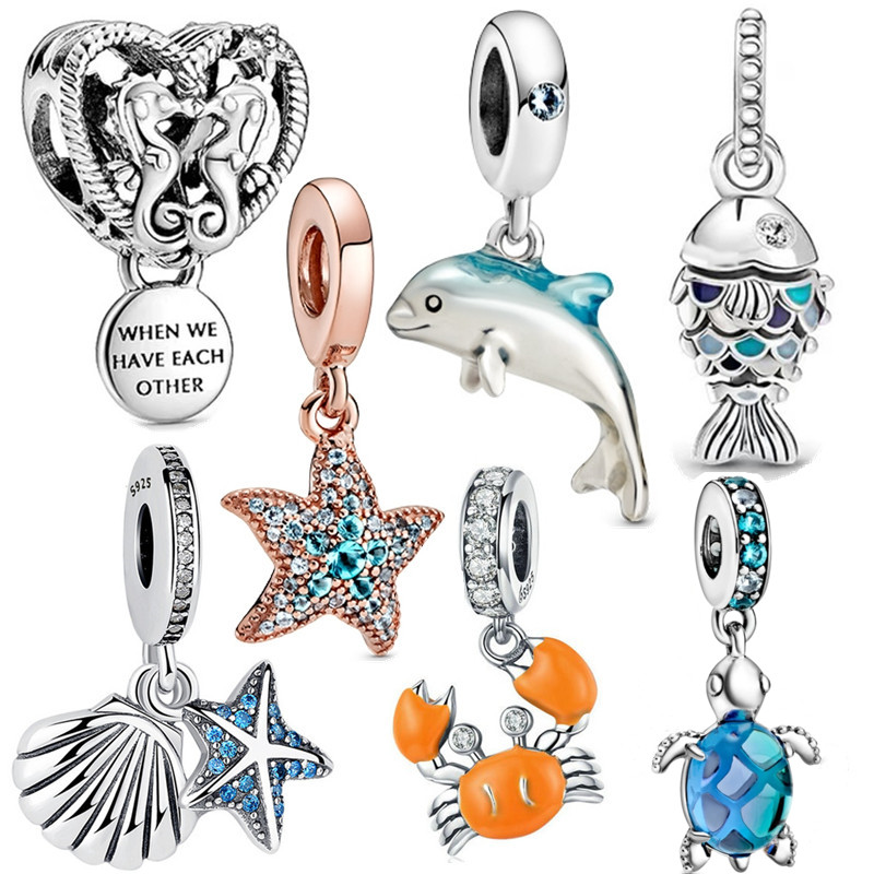 fit original Pandora bracelet cute fish starfish shell charm CZ dolphin Sea turtle pendant S925 sterling silver ocean jewelry