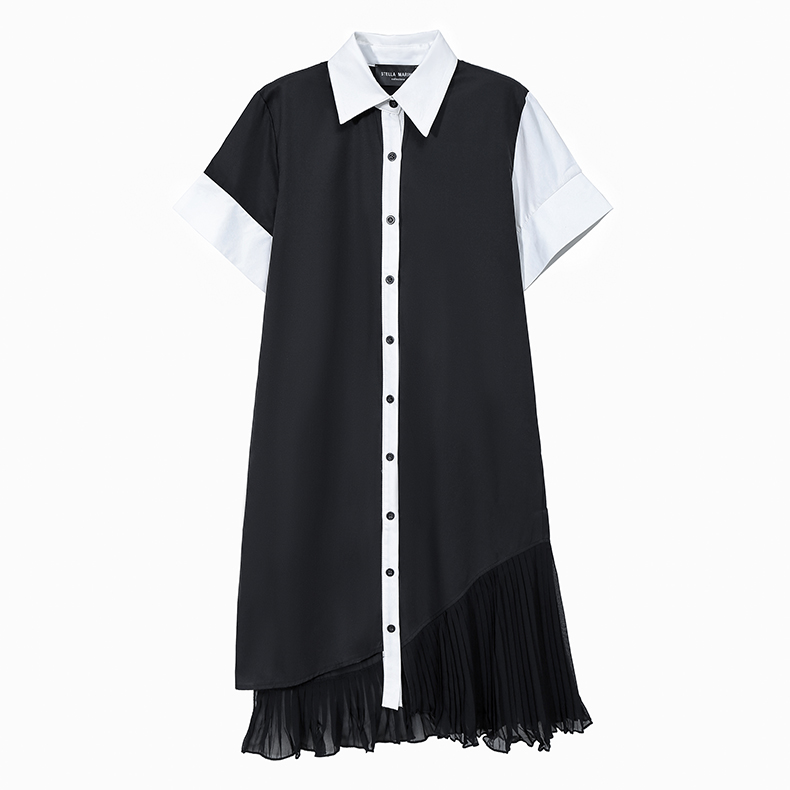 New Woman Summer 2020 Black And White Patchwork Shirt Dress Chiffon Ladies Elegant Style Office Ladies Midi Dress Wholesale 5911