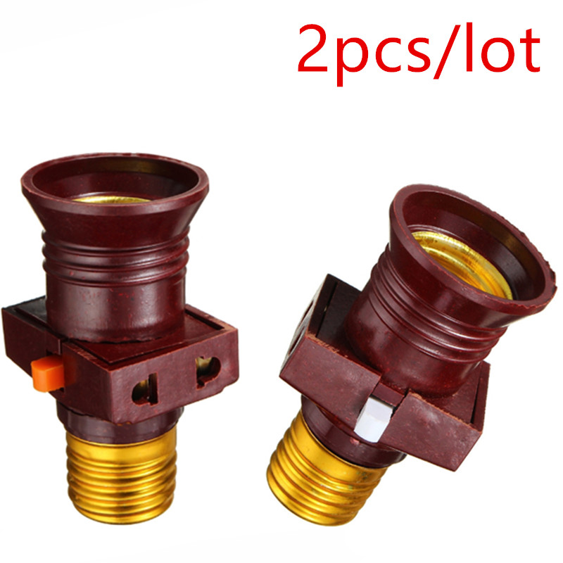 2pcs/lot 110-250V E27 Screw Bulb Holder Convert To With Switch Lamp Socket LED Bulb Adapter Lighting Support Dropshipping