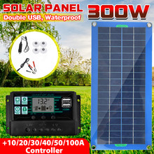 300W Solar Panel 12V 5V Dual USB 10-100A Controller Waterproof Monocrystalin Solar Cells for Car Yacht RV Battery Charger