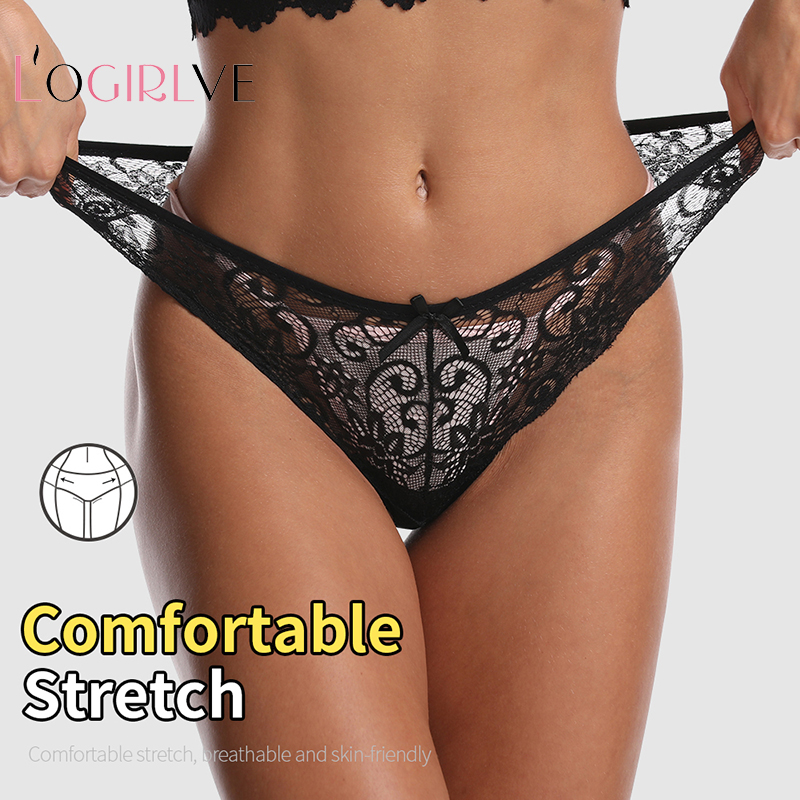 Logirlve Sexy Unterwäsche Frauen Spitze Höschen G-String Dessous Niedrigen Taille Nahtlose Weiche Damen Briefs Thongs Underpanty Femmer