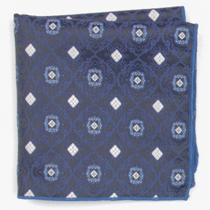 Blue Fashion Patterned Pocket Square With Patterns Handkerchief
