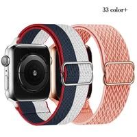 Correa Scrunchie para Apple watch, banda de nailon elástico ajustable de 44mm, 40mm, 38mm y 42mm, serie iWatch 3, 4, 5, 6 se