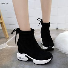 2019 Autumn And Winter New Short Boots Muffin Platform Shoe Wedges Shoes Lace-Up Ankle sneakers zapatos botte femme z248
