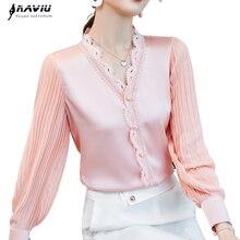 Розовая рубашка с v-образным вырезом, Женская Осенняя кружевная блузка с пышными рукавами, модные дизайнерские шелковые блузки, офисные жен...