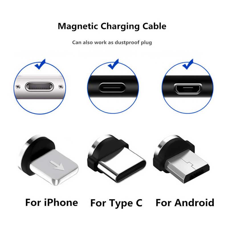 Magnetic Bulat Kabel Plug 8 Pin USB Mikro Tipe C USB C Colokan Cepat Pengisian Ponsel Magnet Charger Plug untuk iPhone 1 M Line Pengisian Daya