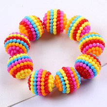 10PCS Rainbow Round Acrylic Beads DIY Bright Color Yangmei Ball Design Detachable Handmade Headdress Jewelry Accessories 20mm