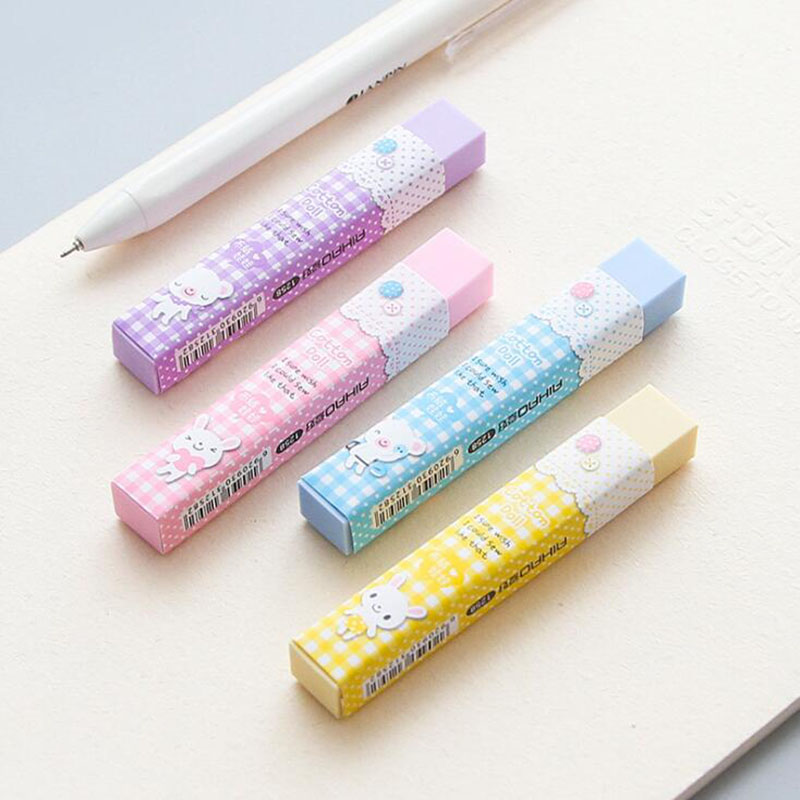 1 Piece Kawaii Strip Stationery 2B Pencil Eraser Student Award Gift Stripe Jelly Color Beautiful Eraser Office School Supplies