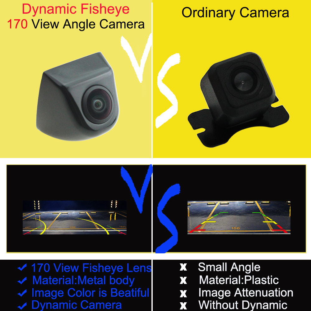 lowest price HD Real 170 Angle Fisheye Lens Cam Waterproof Metal Shell Car Rear Night View Dynamic Trajectory Reverse Reversing Backup Camera