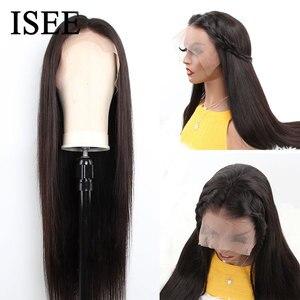 Image 4 - 250% плотные прямые передние человеческие волосы на сетке, парики для женщин, малайзийские прямые передние парики на сетке, прямые человеческие волосы ISEE