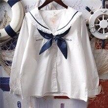 Японские белые рубашки в стиле Лолиты, женские винтажные кружевные топы принцессы с рюшами, милые школьные блузки на пуговицах с матросским воротником для девочек-подростков