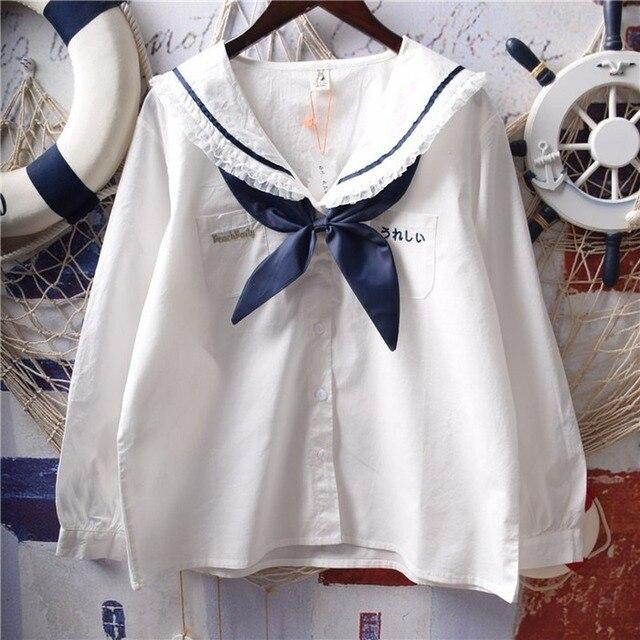 Японские белые рубашки Лолиты, женские винтажные кружевные топы принцессы с рюшами, Подростковая блузка с матросским воротником и пуговицами, милая школьная форма