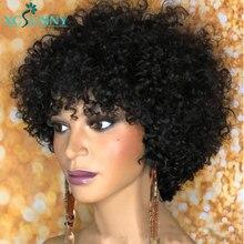 Pelucas de cabello humano rizado corto con flequillo hechas a máquina, Top de cuero cabelludo, peluca rizada, Remy, brasileño, Bob, peluca para mujeres negras de 10