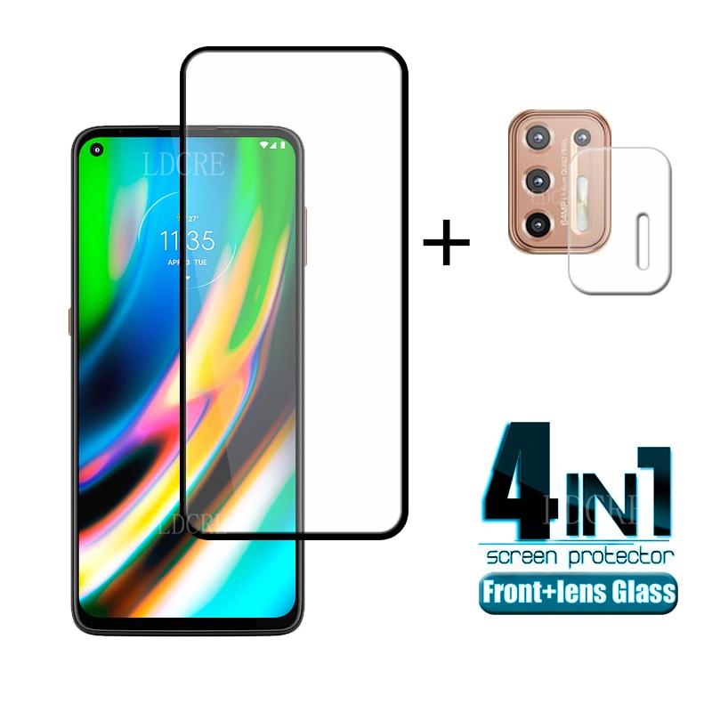 4-em-1 para Motorola Moto G9 Plus Vidro para Moto G9 Plus Vidro temperado Full Glue HD Protetor de tela para Moto G9 Plus Vidro de lente