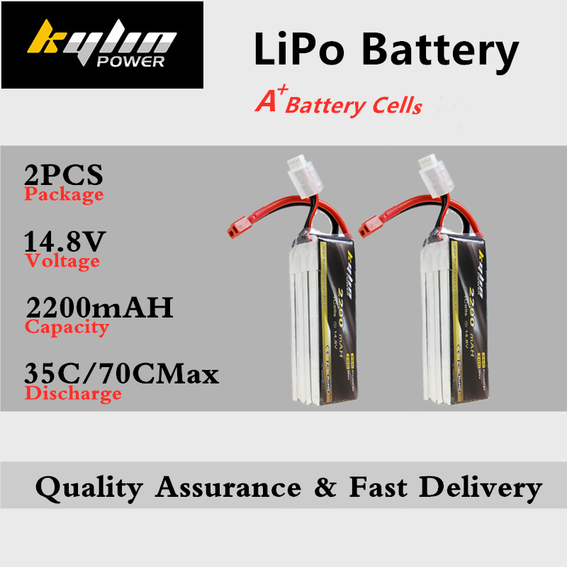 2PCS Lipo Battery 4S <font><b>14.8V</b></font> <font><b>2200mAh</b></font> 35C/70CMax For RC Drones Quadcopter Airplane Multicopter Helicopter high rate Lithium Battery image
