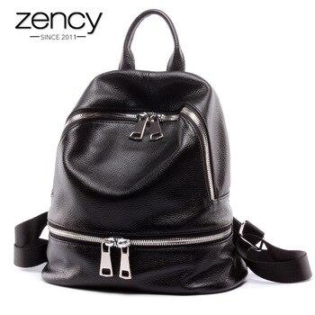 Zency Fashion 100% Genuine Leather Women's Backpacks Notebook Schoolbag For Teenage Girls Female Travel Bag Lady Knapsack Black - discount item  50% OFF Women's Handbags