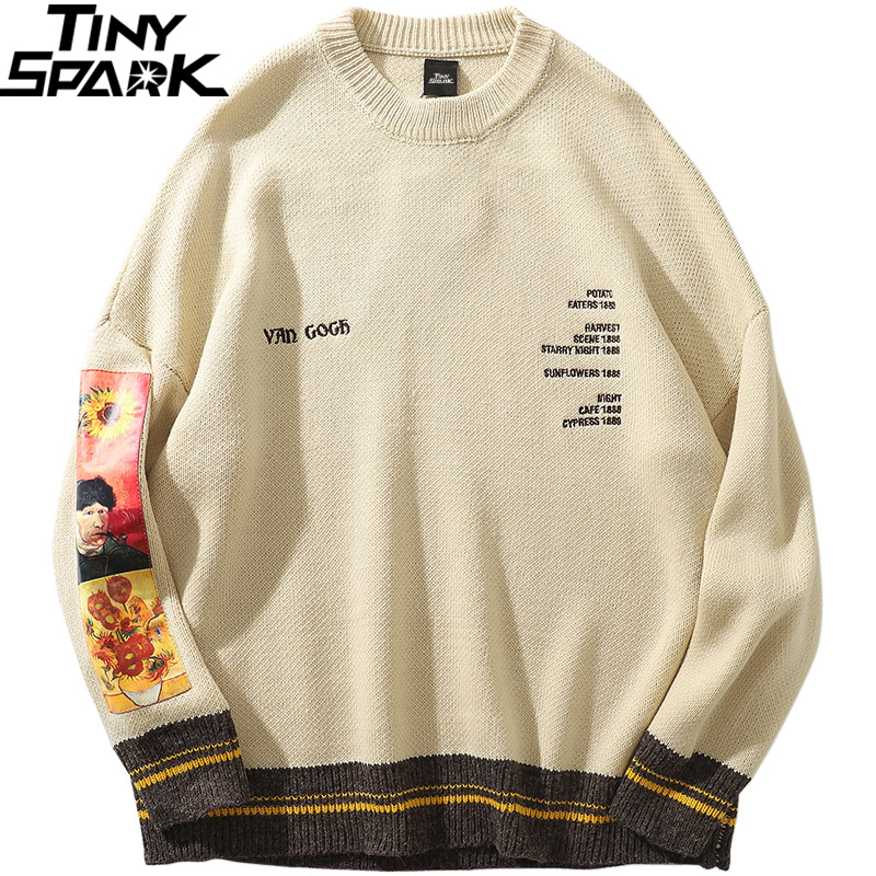 2019 Men Hip Hop Sweater Pullover Streetwear Van Gogh Painting Embroidery Knitted Sweater Retro Vintage Autumn Sweaters Cotton