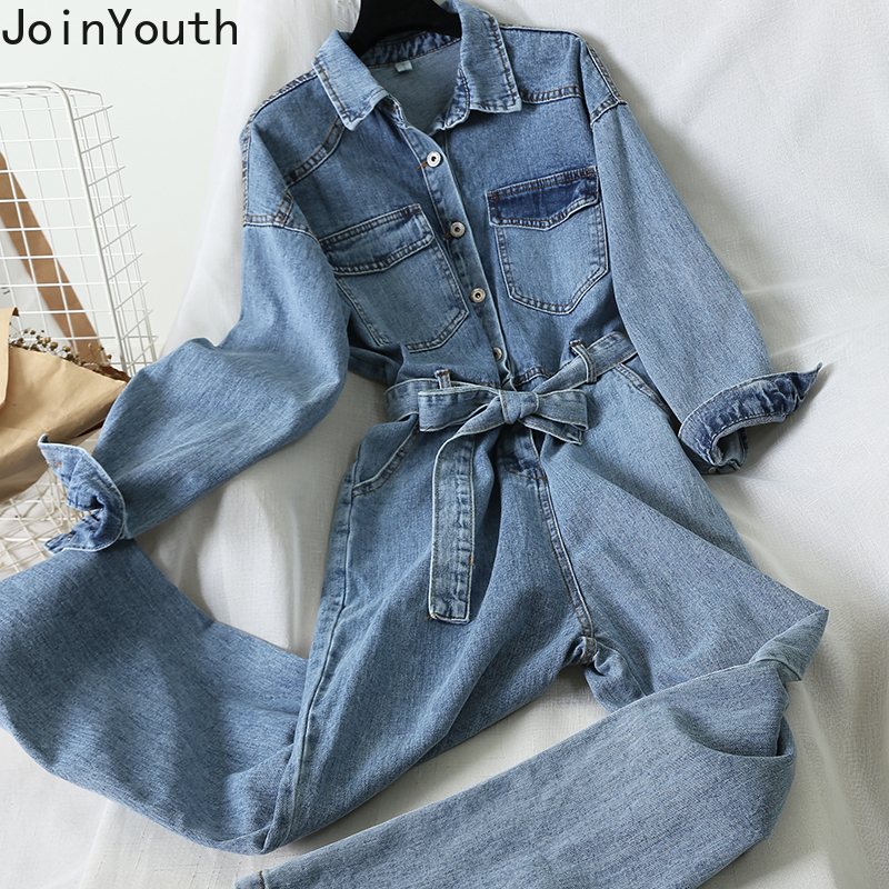 Joinyouth Women Turn Down Collar Long Sleeve Casual Demin Jumpsuit Lace Up Slim Waist Jeans Spring Jeans Jumpsuit Romper 58742
