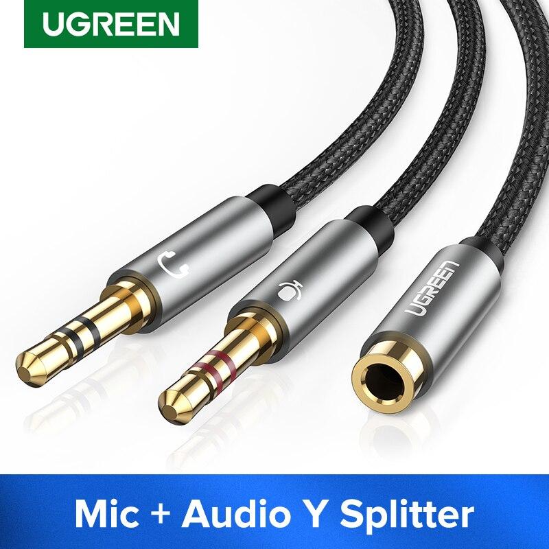Divisor de auriculares UGREEN para ordenador 3,5mm hembra a 2 Dual 3,5mm macho Mic AUX Audio Y Cable divisor auriculares a adaptador de PC