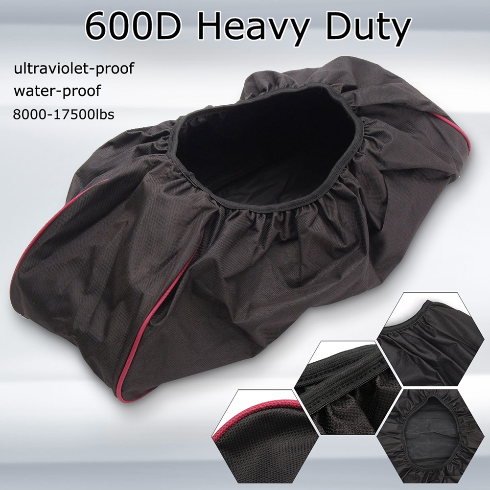 600D Car Waterproof Thick Red Edge Winch Cover For Driver Recovery Dustproof Oxford Fabric Universal 8000-17500 Capacity