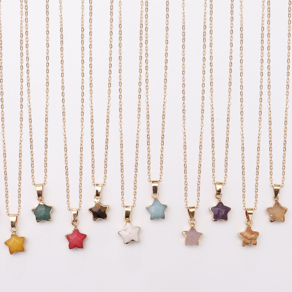 Dyed Stone Star Necklaces
