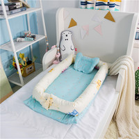 Newborn Sleeping Cartoon Cradle Portable Crib Multifunctional Travel Crib With Bumper Newborn Mattress