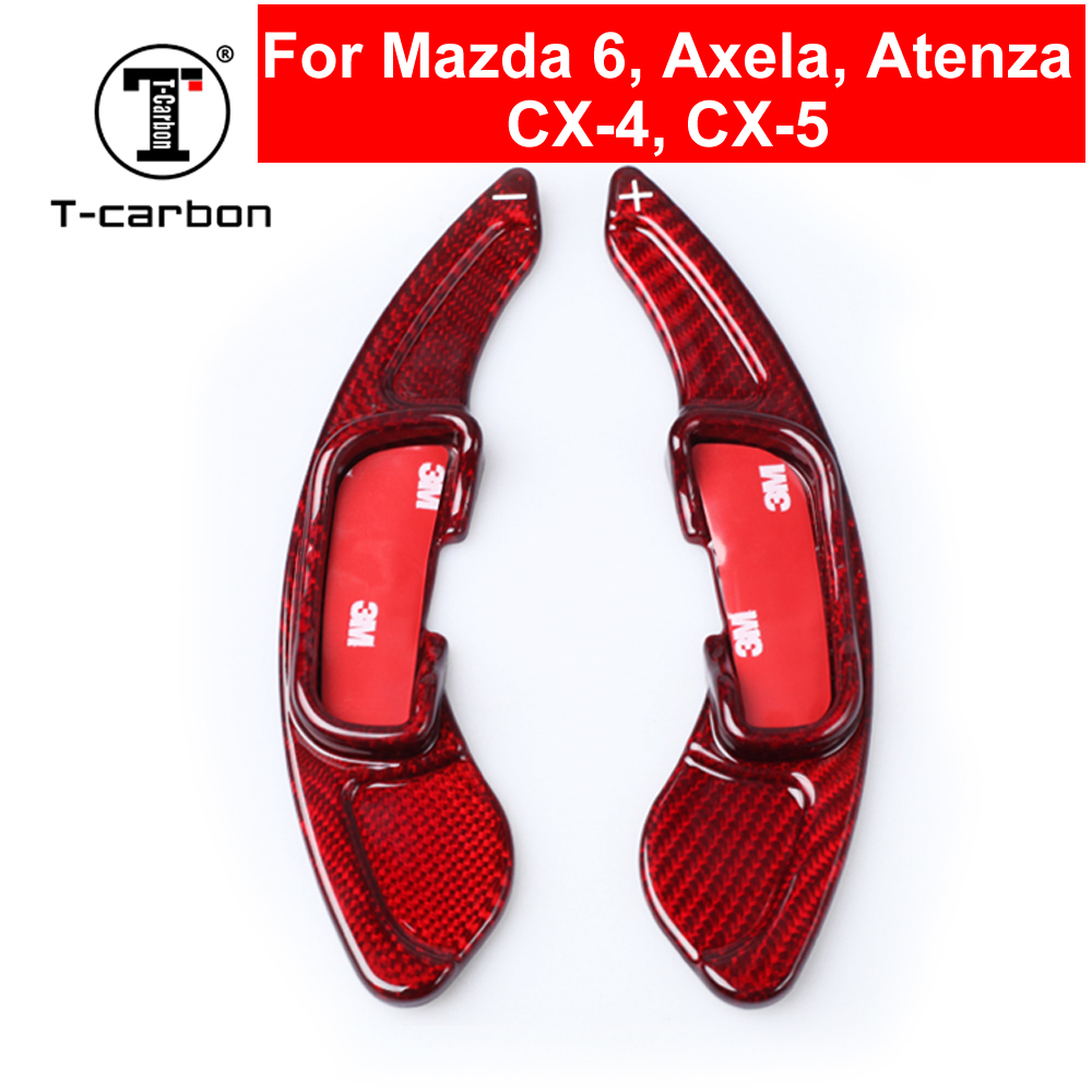 Car Styling Interior Inner Real Carbon Fiber Steering Wheel Shift Paddles Extension Shifters For Mazda Axela Atenza CX-5 CX-4