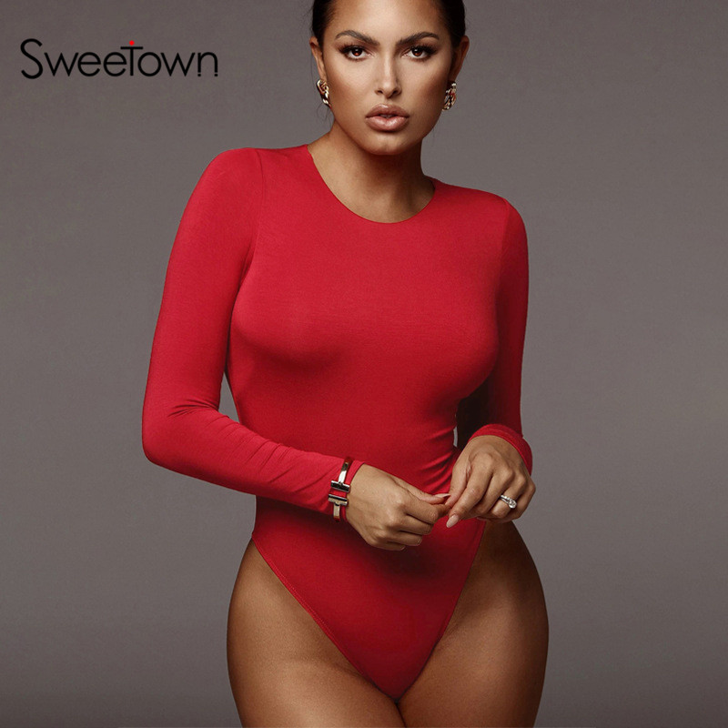 Sweetown Long Sleeve Bodysuit Womens Top Bodycon Female Body Mujer Spring 2020 Solid Comfortable Soft Basic Bodysuits Rompers