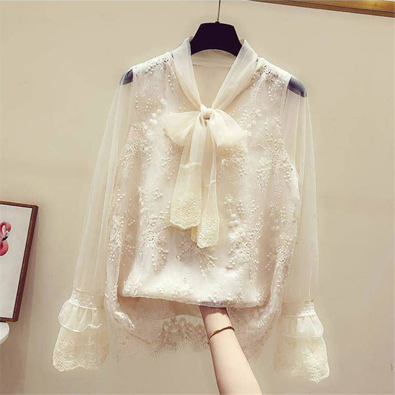 Summer Korea <font><b>Women</b></font> Hollow Out Long Sleeve Shirt Sweet Cute White Bow V-neck Ladies Tops <font><b>organza</b></font> Embroidery Lace <font><b>Blouse</b></font> D223 image
