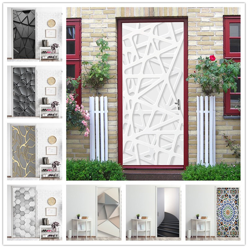 Wallpaper For Door Modern Fashion Geometry Design Home Renovation Decor Office Cafe Theme Exhibition Poster Vinyl Door Sticker