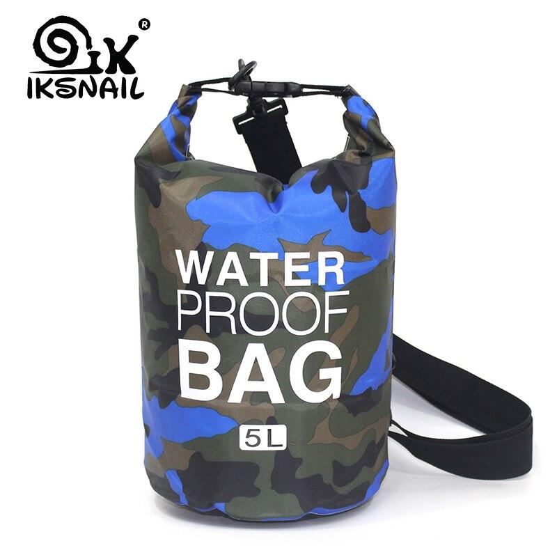 IKSNAIL 2L/5L/10L Outdoor Dry Waterproof Dry Bag Waterproof Sack Floating Diving Foldable Bags For Rafting River Ocean Backpack