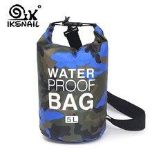Iksnail bolsa flutuante impermeável seca, 2l/5l/10l, sacola de mergulho, dobrável, para uso ao ar livre, rafting, rio mochila oceana,