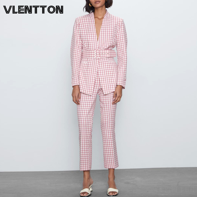 2020 Spring Pink Vintage Plaid Pants Suit Women Sexy V-Neck Belt Blazer Jacket Coat+Flares Trousers Female Office Two Piece Set