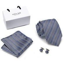Vangise Men  ties set Extra Long Size 145cm*8cm Necktie Blue Striped 100% Silk Jacquard Woven Neck Tie Suit Wedding Party