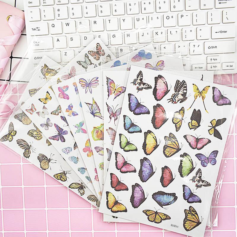 1Sheet Kawaii Butterfly Decor Sticker Bullet Cute Stationery Sticker Journal Sticker For Kids Girls Diy Scrapbooking Diary Album