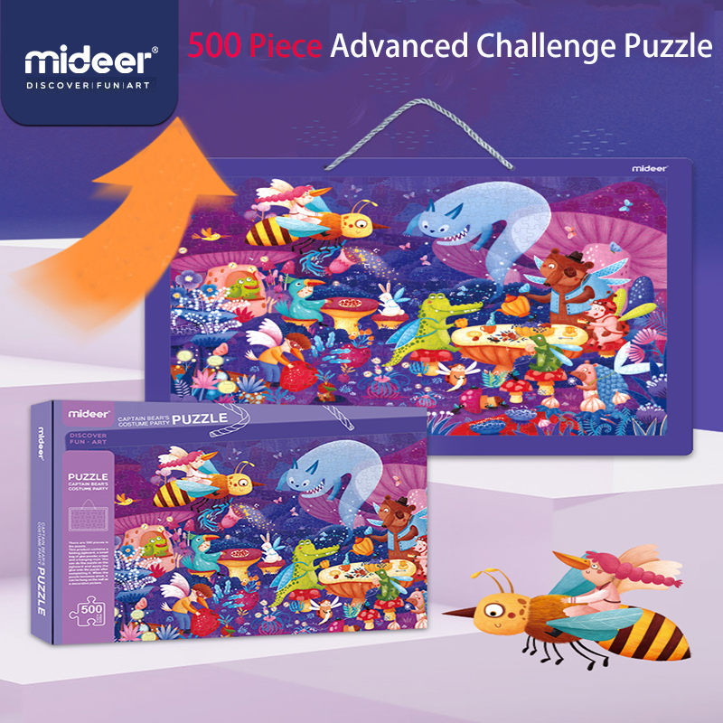 Mideer 500 Piece Children's Jigsaw Captain Bear's Masquerade Fun Toys Boys And Girls Advanced Challenge Puzzle