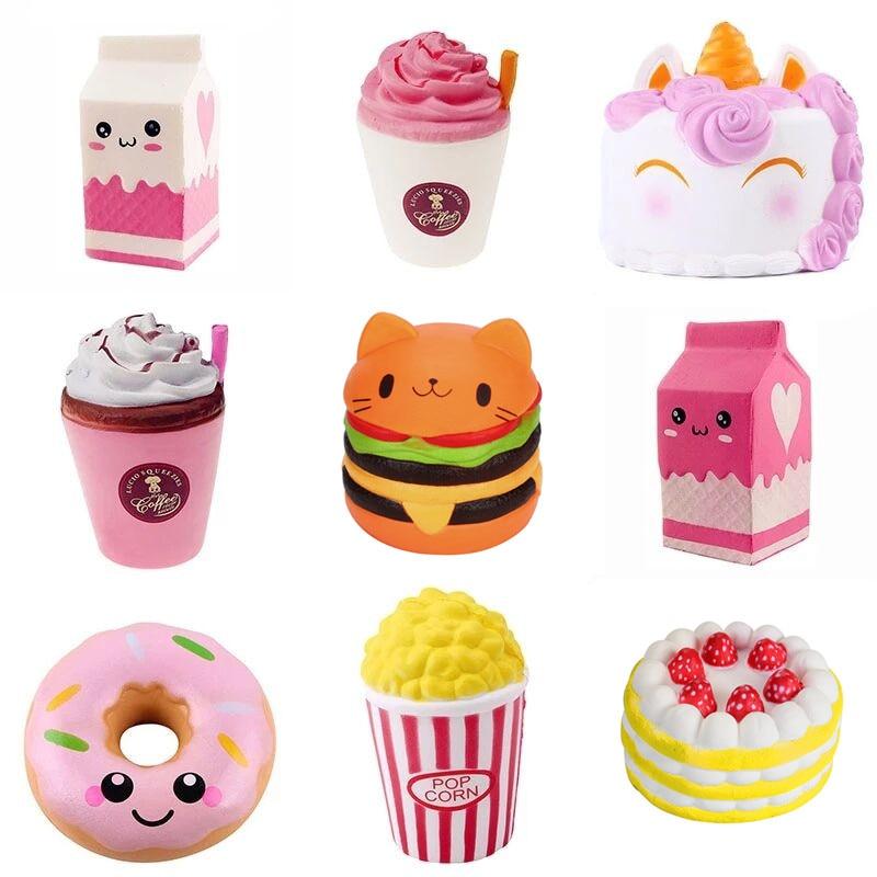Squshy-Popcorn-Toys Hamburger Squish Stress Relief Milkshake Gift Slow Rising 1PC Jokes