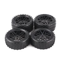 4pcs Universal 1/10 Scale Off Road Buggy Tires V Hole Wheel Rims Set Front and Rear 12mm Hex Hubs with Foam Inserts