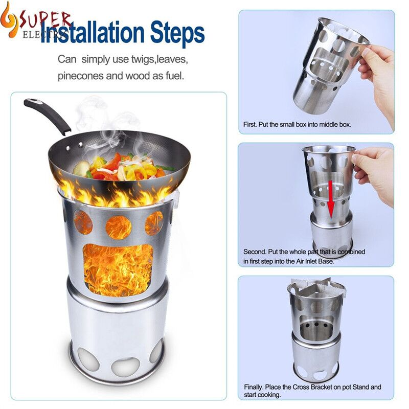 Portable Burning Stove Pocket Folding Camp Stove Mini Fire Spout Barbeque Safety & Survival Z0613