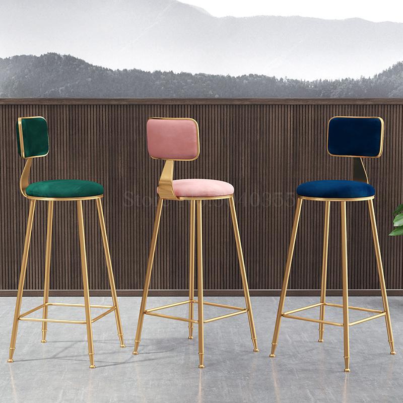 European Light Luxury Bar Chair Simple Net Red Bar Stool Front Coffee Restaurant Leisure Back High Stool
