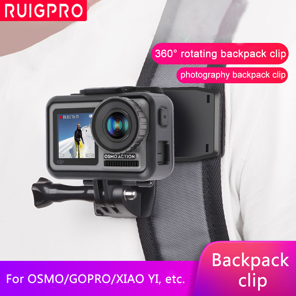 Rotate Backpack Clip Clamp Mount for DJI OSMO action sport camera Xiaomi Yi 4K Lite EKEN H9/H9R Sports Camera Accessories