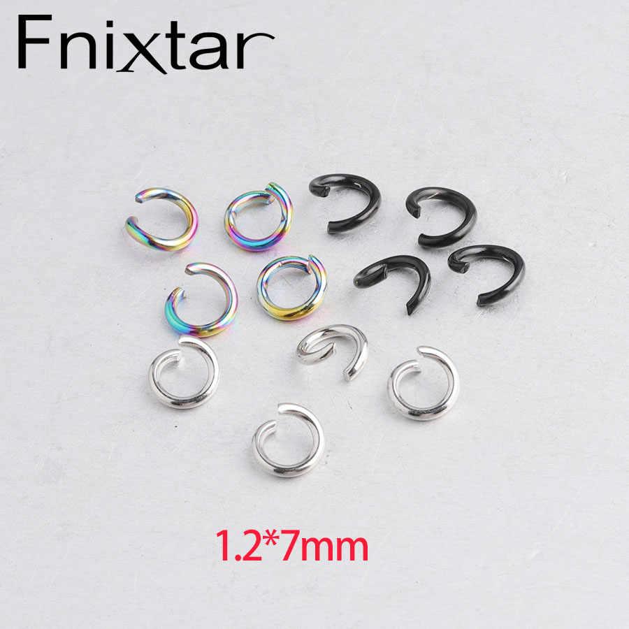 Fnixtar 1.2*7 millimetri Nero Arcobaleno In Acciaio di Colore Blu In Acciaio Inox Aperte Anelli di Salto Split Rirngs Per Fare Connettore 100 pz/lotto