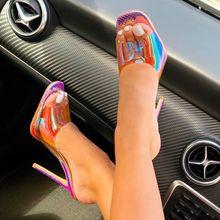 Kobiety pompy Sexy wysokie obcasy damskie buty damskie sandały na obcasie damskie sandały przezroczyste buty sandały damskie buty damskie szpilki tanie tanio LAKESHI Gladiator Cienkie obcasy Super Wysokiej (8cm-up) Pasuje prawda na wymiar weź swój normalny rozmiar Moda Płytkie