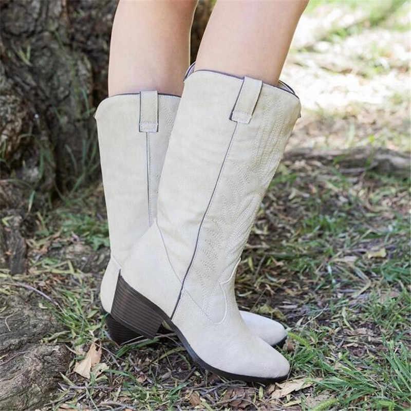 Batı kovboy kadın çizmeler kadınlar için sivri burun kovboy çizmeleri kare topuklu diz yüksek çizmeler Retro kadın ayakkabı siyah çizme