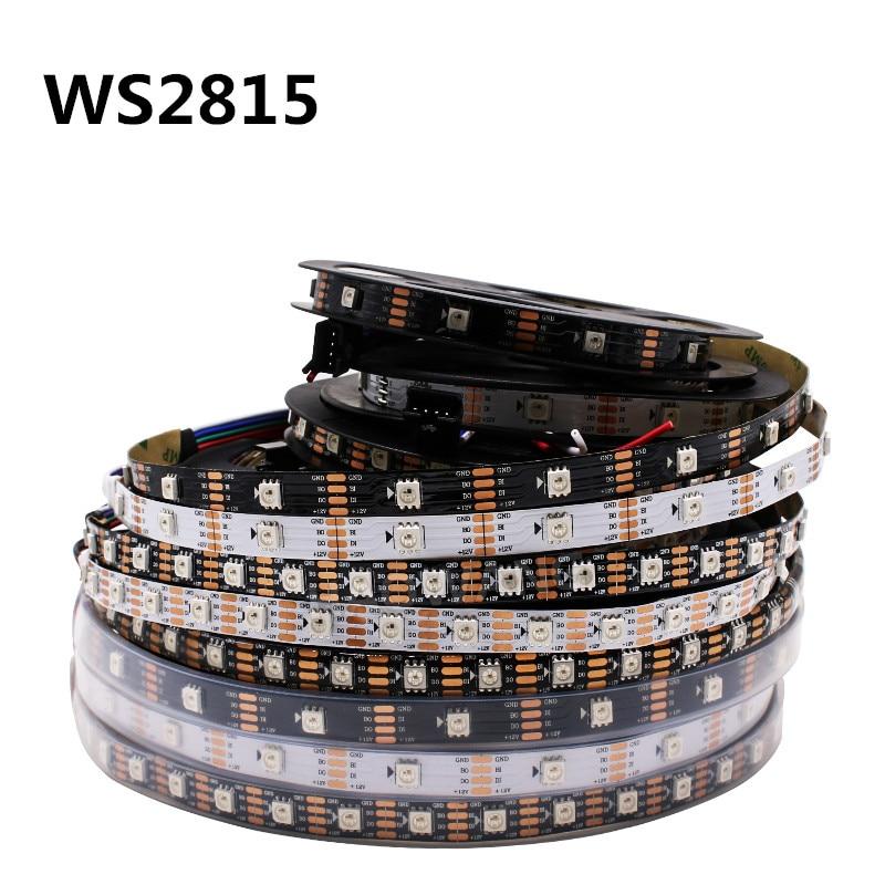 LED Strip DC12V WS2815 1m/3m/5m Smart Pixel 30/60/144 Leds/m Black/White PCB IP30/IP65/IP67;Addressable Dual-signal WS2812 UP
