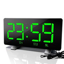 Led Radio Alarm Clock Creative Snooze Electronic Desk Bedroom Office Usb Charging
